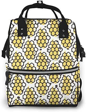 Natural Honey Seamless Pattern Bio Hand Diaper Backpack,Large Capacity Baby Bag,Multi-Function Travel Backpack Nappy Bags,Nursing Bag,Fashion Mummy,Roomy Waterproof for Baby Care,Stylish and Durable