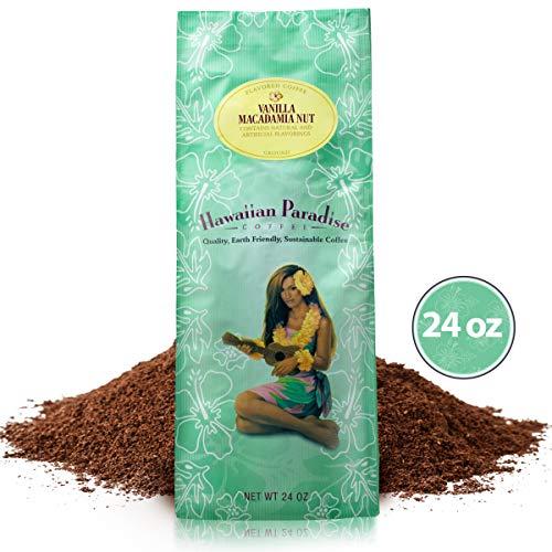 Hawaiian Paradise Coffee Medium Roast (24 OZ) World Class Premium Flavored Grounds Gourmet | Signature Brewed Made From the Finest Beans| Farm Fresh Earth Friendly | Vanilla Macadamia Nut