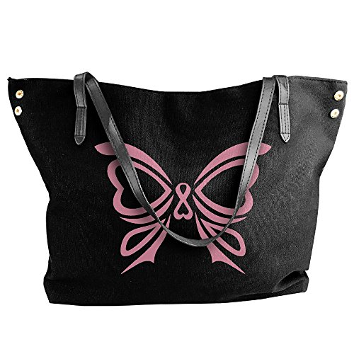 Handbag Ribbon Canvas Women's Large Pink Black Shoulder Tote Handbags Butterfly I4TPx4a