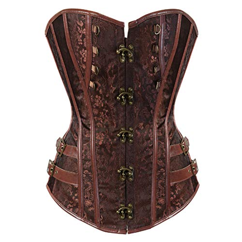Women's Punk Rock Faux Leather Corset Bustier Basque Waist Cincher Bustier Lingerie Brown Medium -