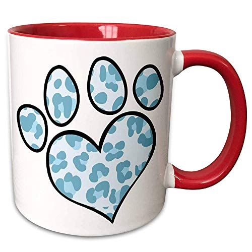 FiuFgyt Cute Pattern Paw Prints Cute Paw Print In Lt Blue Leopard Red Cofee Mug Gifts for Mom Dad Inspirational Ceramic Mug Cups 11oz ()