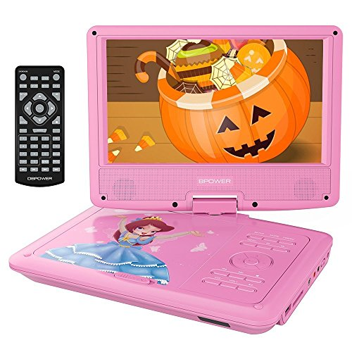DVD Player with Rechargeable Battery, Swivel Screen, SD Card Slot and USB Port, with 1.8M Car Charger and 1.8M Power Adaptor (Pink) (Pink Tv)