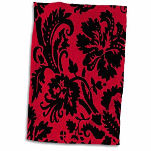 3D Rose Red and Black Damask - Large Print Stylish Floral - Gothic Bold Elegant Burlesque Inspired Pattern Towel, 15