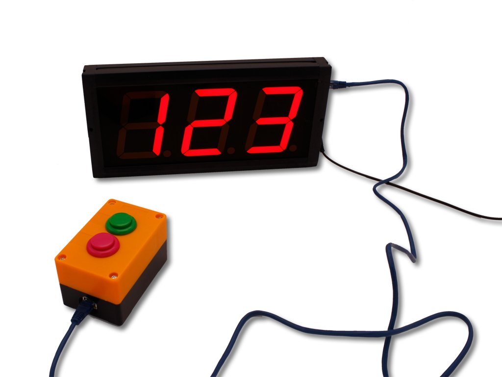 EU 4 Inch Char High 3 Digits LED Clock (Red+Buttons) by EU DISPLAY