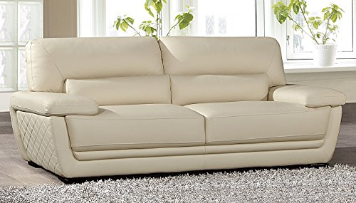 American Eagle Furniture Emma Collection Modern Top Grade Italian Leather Living Room Sofa with Pillow Top Armrests, Cream