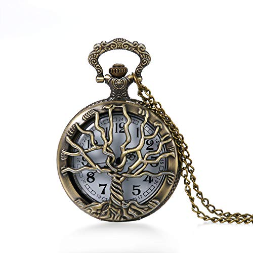 (Vintage Tree of Life Hollow Bronze Pocket Watch Quartz Arabic Markers Carved Men and Women Watches with Necklace Chain Pendant)