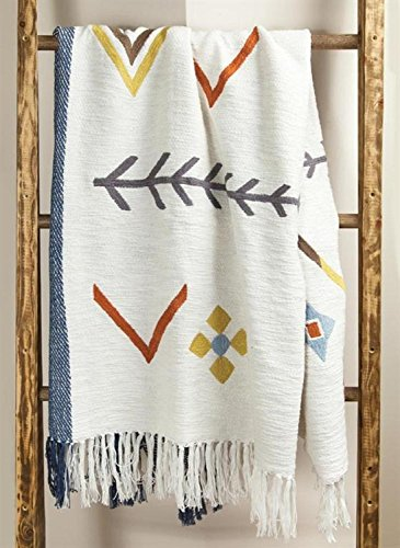 CC Home Furnishings White Arrows Cotton Embroidered Throw Blanket Fringe Border 60