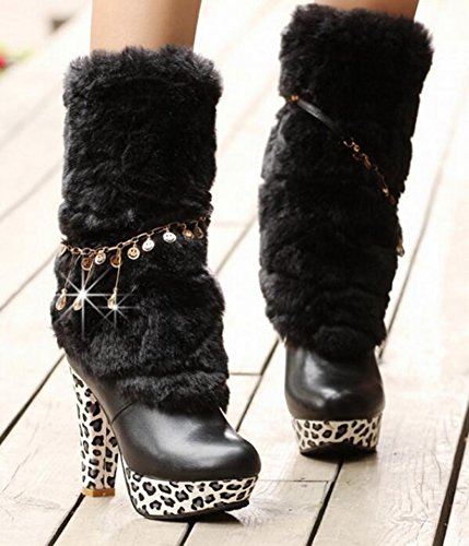 CHFSO Womens Sexy Waterproof Faux Fur Lined Chains Mid Calf Pull On Chunky High Heel Platform Winter Boots Black 3qMbhVk