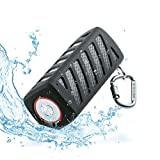 Portable Wireless Bluetooth Speaker Waterproof with Power Bank, Powerful Surround Sound with Enhanced Bass for Music Streaming, Built-in 7000mAh Rechargeable Battery, 20 Hours Playtime (Black)