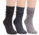 Womens Girls 3 Pairs Casual Vintage Knit Warm Cotton Boot Crew Socks 5-9 WS65 (Mixed)