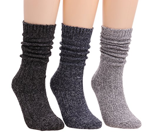 Calf Boot Socks (Womens Girls 3 Pairs Casual Vintage Knit Warm Cotton Boot Crew Socks 5-9 WS65 (Mixed))