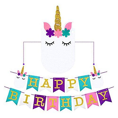EIXJA Unicorn Happy Birthday Banner, Perfect Unicorn Party Supplies, 2018 New Exterior Design and Premium Felt, Unicorn Party Decoration