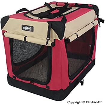 """EliteField 3-Door Folding Soft Dog Crate, Indoor & Outdoor Pet Home, Multiple Sizes and Colors Available (36""""L x 24""""W x 28""""H, Red+Beige)"""