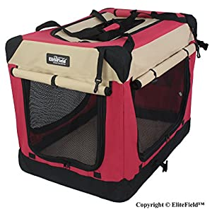 EliteField 3-Door Folding Soft Dog Crate, Indoor & Outdoor Pet Home, Multiple Sizes and Colors Available (24″ L x 18″ W x 21″ H, Red+Beige) Click on image for further info.