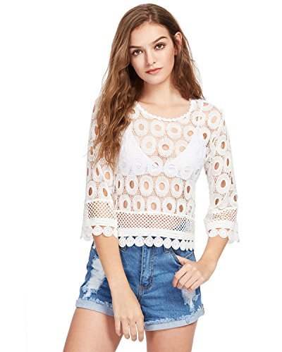 GAMISS Mujer Camisa Transparente Casual Camisetas de Mangas Largas Blusa Blanca S-XL: Amazon.es: Ropa y accesorios