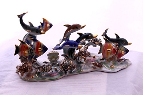 Feng Shui Ocean with Dolphins and Fishes - Hand Crafted and Decorated Fine Chinese Porcelain, Figurine 11001 (Figurines Dolphin Porcelain)