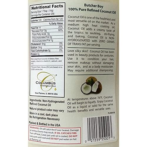 Butcher Boy 76°f 100% Pure Refined Coconut Oil 1 Gallon 30
