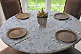 Kitchen Table Round Elastic Flannel Backed Vinyl Fitted Table Cover MULTI-COLOR GEOMETRIC Pattern - Small Round - Fits tables up to 44