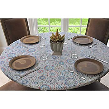 Elastic Flannel Backed Vinyl Fitted Table Cover MULTI COLOR GEOMETRIC  Pattern   Large Round