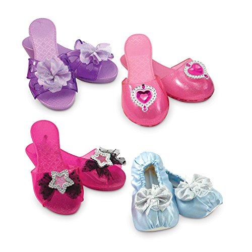 Melissa & Doug Role Play Collection - Step In Style! Dress-Up Shoes Set (4 (Barbie Ballerina Slippers)