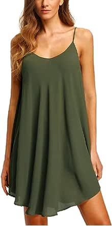 Zyyfly Women's Spaghetti Strap Sundress Asymmetrical Chiffon Beach Mini Dress