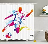 HOPSYOT Soccer Shower Curtain, Watercolor Shower Curtain, Abstract Soccer Proffesional Player Kicks Ball Watercolor Style Spray Championship Shower Curtain