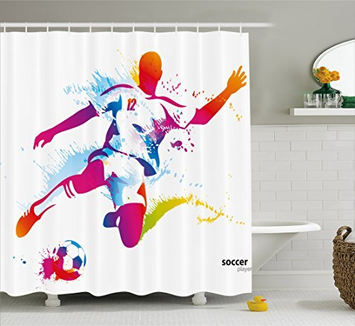 HOPSYOT Soccer Shower Curtain, Watercolor Shower Curtain, Abstract Soccer Proffesional Player Kicks Ball Watercolor Style Spray Championship Shower Curtain by HOPSYOT