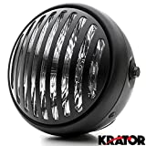 "Krator 7"" Black Vintage Antique Style Grill Prison Chopper Motorcycle Bobber Headlight For Honda Gold Wing Goldwing GL 500 650 1000 1100"