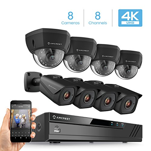 Cheap Amcrest 4K 8CH Security Camera System w/ 4K (8MP) NVR, (8) x 4K (8-Megapixel) IP67 Weatherproof Metal Bullet & Dome POE IP Cameras (3840×2160), 2.8mm Wide Angle Lens, 98ft Nightvision (Black)