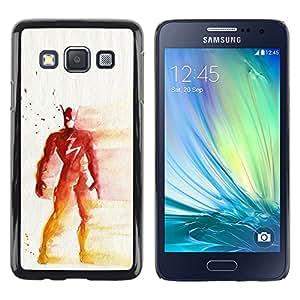 Shell-Star Arte & diseño plástico duro Fundas Cover Cubre Hard Case Cover para Samsung Galaxy A3 / SM-A300 ( Superhero Red Yellow Painting Art Mask )