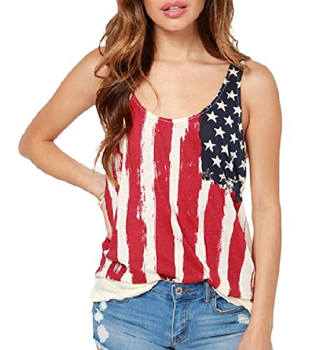主に天気陪審Tootess Women Stylish Chiffon Plus-size Basic American flag Tank Top Shirt