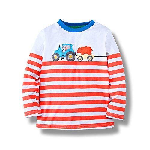 KIDSALON Little Boys' Cotton Crewneck Long Sleeve Cartoon T-Shirt (2T, (Truck Applique T-shirt)