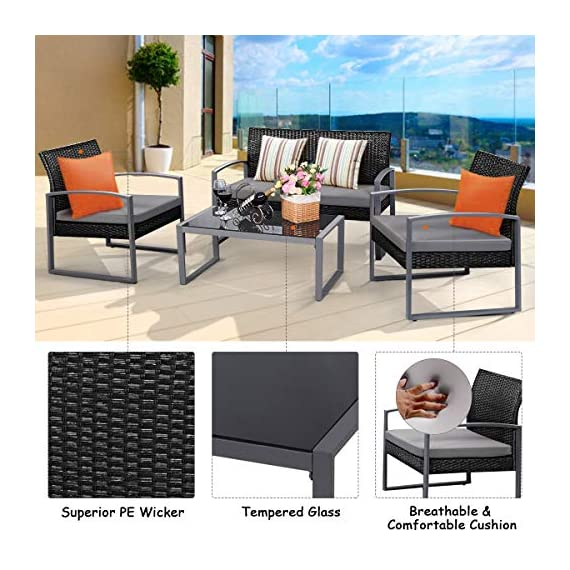 Tangkula 4 PCS Outdoor Patio Furniture Rattan Wicker Conversation Set, As pic - Attractive appearance: equipped with 1 loveseat, 2 chairs and 1 Coffee Table, It is made up with solid steel frame and PE wicker with sponge cushions ensuring a long lifetime. Its stylish armrests and moderate-reclining backrest double the comfort for you to totally relax yourself and make it more eye-catching. Easy carry: Made of lightweight Rattan material, it can be carried easily and labor-efficiently to the desired place. Its compact structure and beautiful texture can surprisingly highlight your patio or poolside Deco. Moment to clean: table with removable tempered glass adds a sophisticated touch and allows you to places drinks, meals and other accessories on top. And you can clean it easily with just a wipe when there is water strain on it. The separable Seat cushion also enables you a quick wash. - patio-furniture, patio, conversation-sets - 51VgL0hXmQL. SS570  -