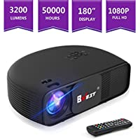BNEST 3200lumens LED Home Veido Projector, Multimedia Home Theater projector, Support Fire TV Stick, 1080P HDMI, USB SD Card, VGA, AV, TV, Laptop Game, iPhone Android Smartphones