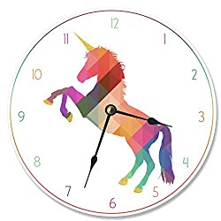 The Stupell Home Decor Collection Stupell Industries Geometric Rainbow Unicorn Vanity Clock, Proudly Made in USA