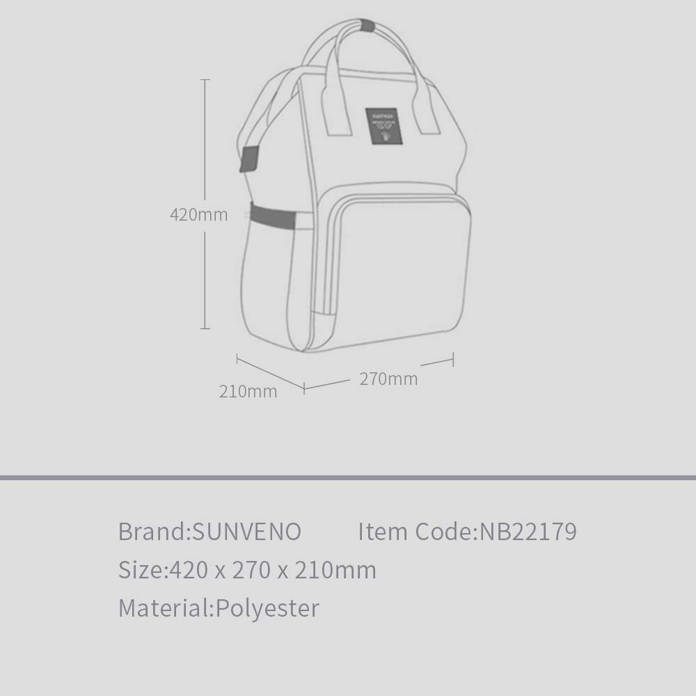 Sunveno Baby Diaper Bag Mummy Maternity Nappy Bag Large Capacity Travel Backpack Desiger Nursing Bag for Baby Care (Olive) by SUNVENO (Image #8)