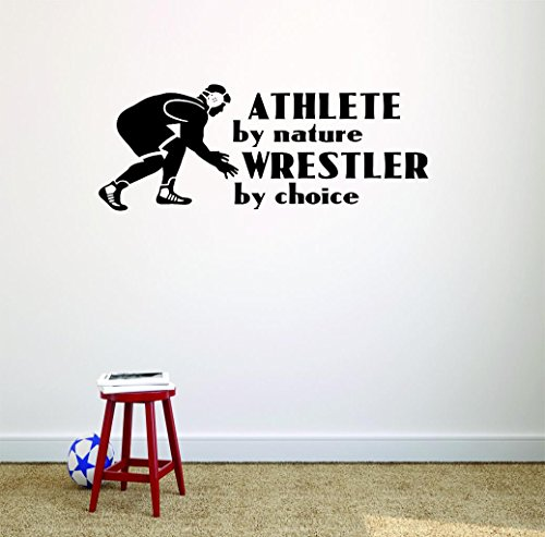 Vinyl Wall Decal Sticker : Athlete by Nature Wrestler by Choice Wrestling Logo Icon Teen Boys Self Defense Fighting Bedroom Sports Sport Fighting UFC Competitive Strong Teens Picture Art Size : 8x20