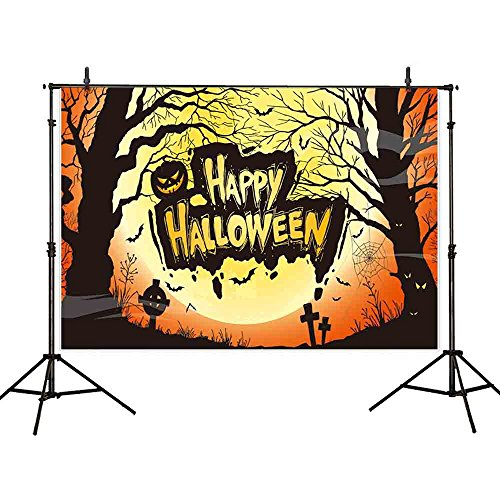 Allenjoy 7x5ft Happy Halloween Party theme Pictorial cloth Customized photography Background for a full Yellow Moon Moonlight Horrible Trees Child Adult Props Photo Studio Booth