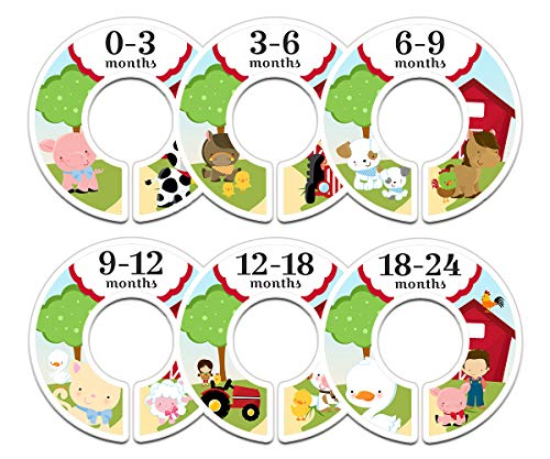 Baby Nursery Closet Size Dividers Set of 6 Closet Organizers, Nursery Decor Farm Animals (Farm Wardrobe)