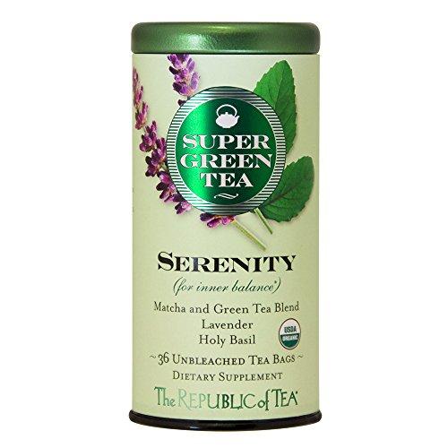 The Republic of Tea, Serenity Supergreen Tea, Matcha And Tulsi Tea Blend, Caffeinated, 36 Tea (Lavender Green Tea)