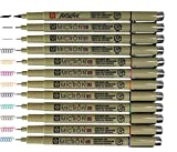 Sakura Pigma Micron pens 12 Fineliner Drawing Set (05 Assorted Color with Black Brush, 08, 01 & 05)