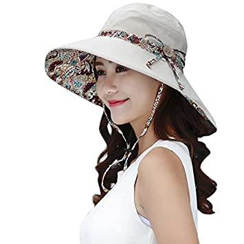 Women S Summer Beach Foldable Wide Large Brim Sun Hat Anti Uv Visor Cap Bucket  Hats With Wooden Button And Bowtie Decoration Four Seasons Girl Outdoor ... fc937d19879e