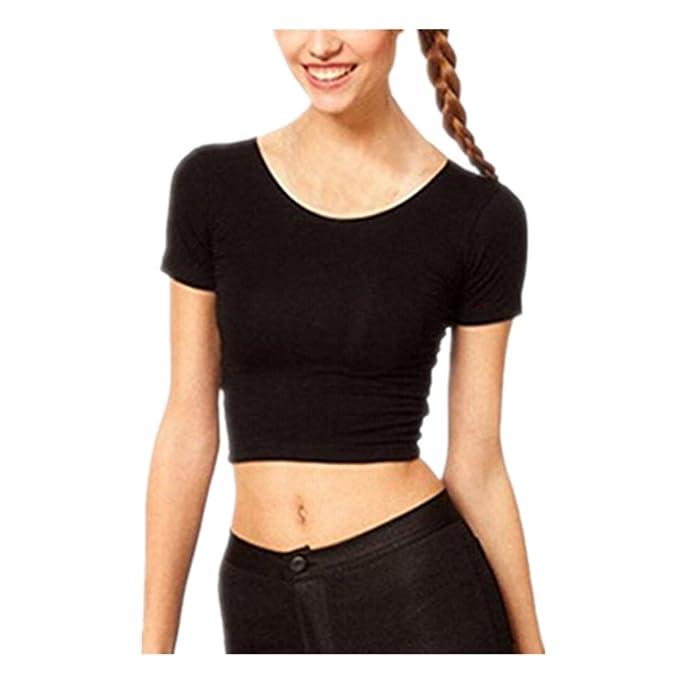 Tonsee® - Camisas - sujetador bandeau - Manga corta - para mujer Negro negro Talla única: Amazon.es: Ropa y accesorios