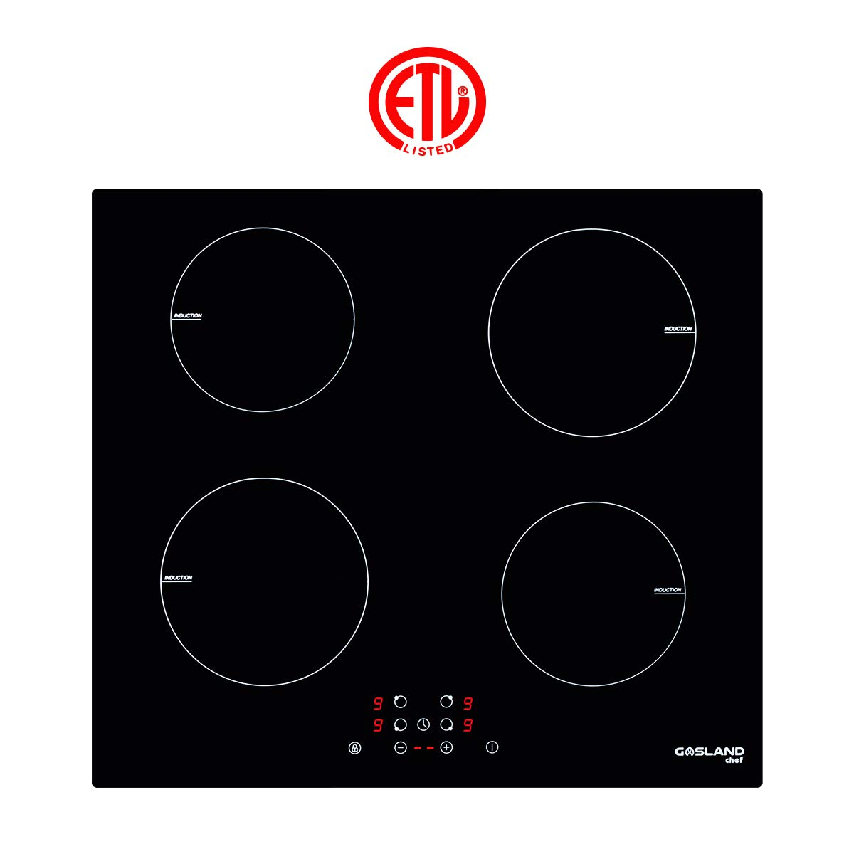 Induction Cooktop, Gasland chef IH60BF Built-in Induction Cooker, Vitro Ceramic Surface Electric Cooktop, 24'' Electric Stove With 4 Burners, ETL Safety Certified, Kids Safety Lock Easy To Clean