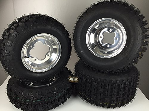 - 4 NEW Yamaha YFZ350 Banshee 350 Polished Aluminum Rims & MASSFX Tires Wheels kit
