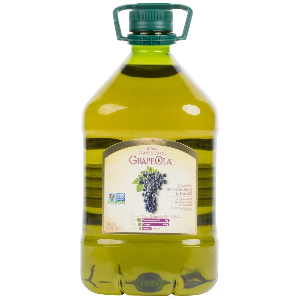 Grapeola 100% Grape Seed Oil, High smoke point of 420 degrees Fahrenheit - 3 Liter   Pack of 4 by Grapeola