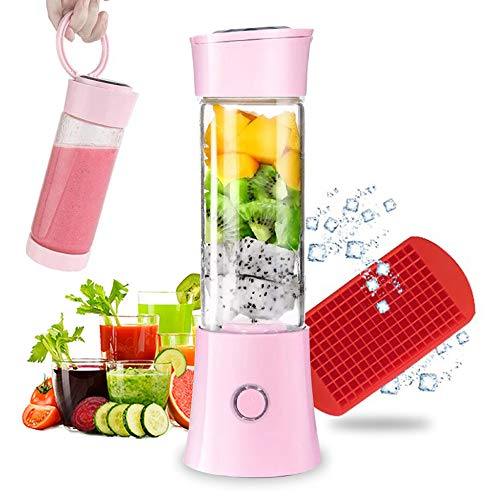 Portable Blender, Smoothie Blender with 16oz Travel Glass Cup and Lid 4000mAh Battery 7.4V Strong Power Personal Size Blender USB Rechargeable Mini Juicer Cup Travel Blender for Shakes and Smoothies with Stainless Steel 6 Blades FDA BPA Free Pink
