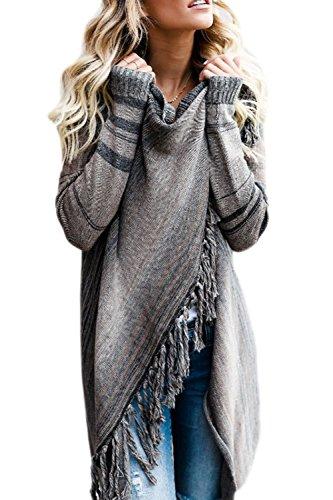 Zilcremo Mujer Invierno Casual Borlas con Flecos De Rayas Irregulares Étnicas Cardigan Abrigos Gris
