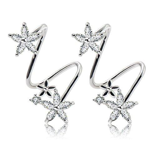 CISHOPFlower Fairy Women Cubic Zirconia Ear Cuff Elegant Ear Wrap Climber Earrings