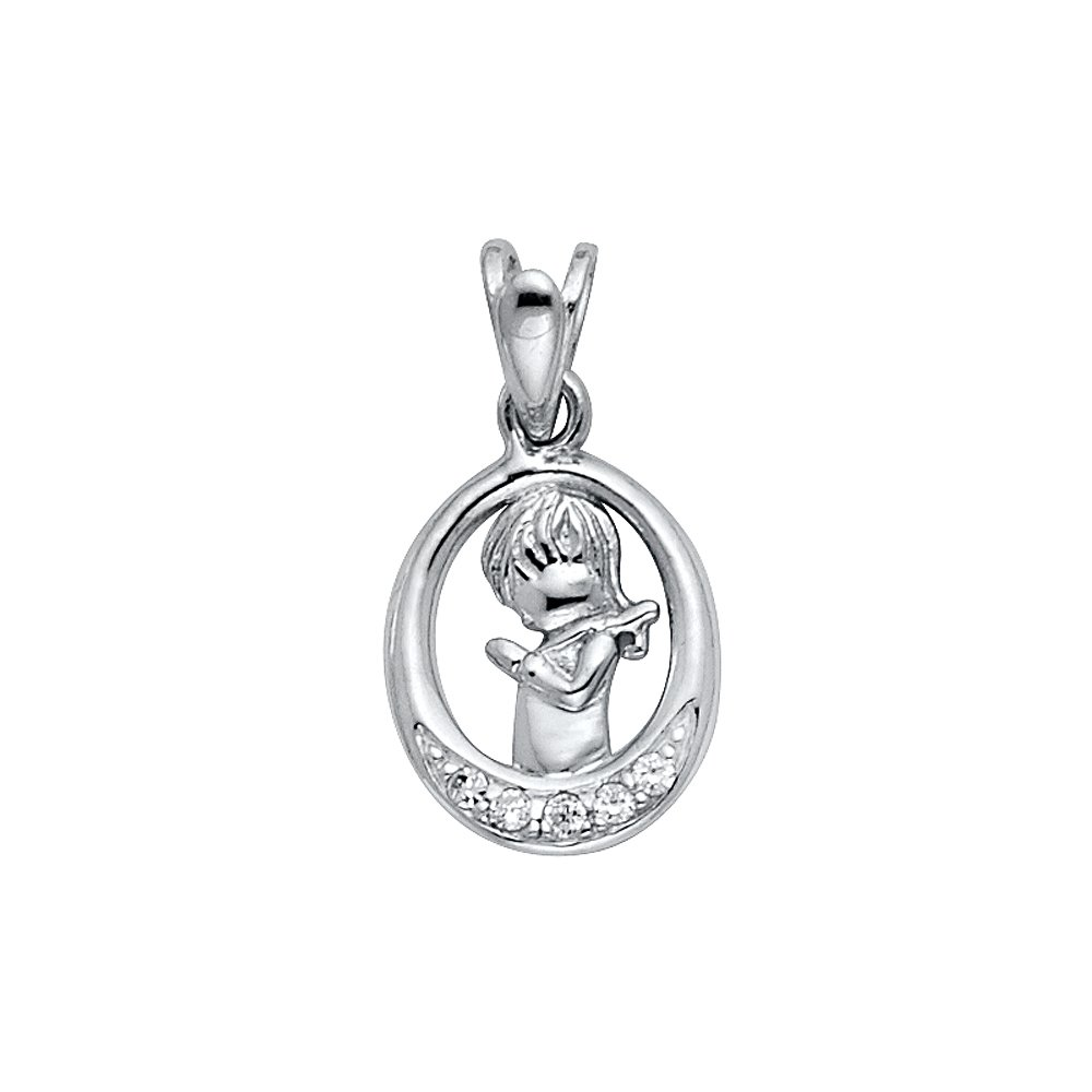 14K Yellow Gold OR White Gold Cubic Zirconia CZ Girl Prayer Religious Charm Pendant For Necklace OR Chain Ioka